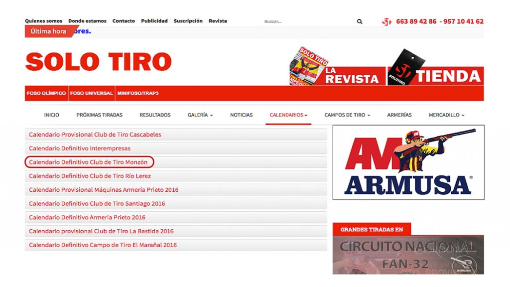CLUB DE TIRO AL PLATO MONZON CALENDARIO DISPONIBLE YA EN SOLO TIRO