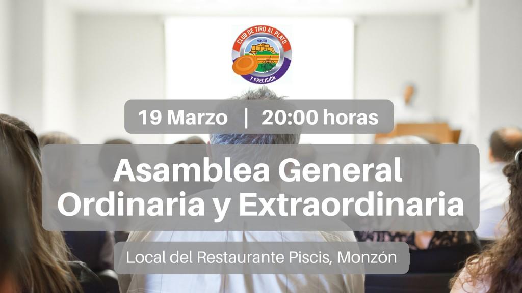 CLUB DE TIRO AL PLATO DE MONZON ASAMBLEA GENERAL ORDINARIA Y EXTRAORDINARIA 2016