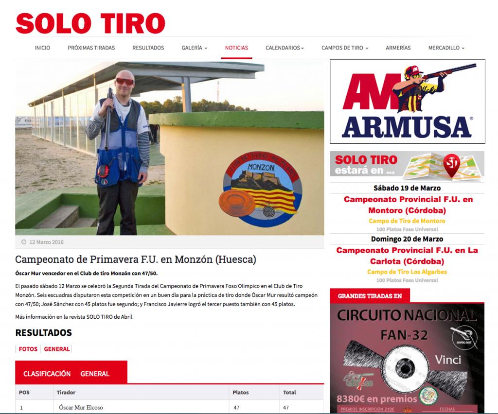 CLUB DE TIRO AL PLATO DE MONZON AHORA EN LA SECCION DE NOTICIAS DE SOLO TIRO