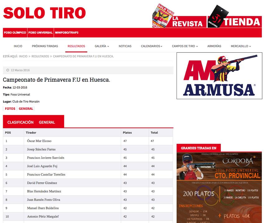 CLUB DE TIRO AL PLATO MONZON LOS RESULTADOS DE LAS TIRADAS AHORA EN SOLO TIRO
